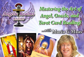 Maria G. Maas and logo for Mastering the Art of Angel, Oracle, and Tarot Card Reading Course
